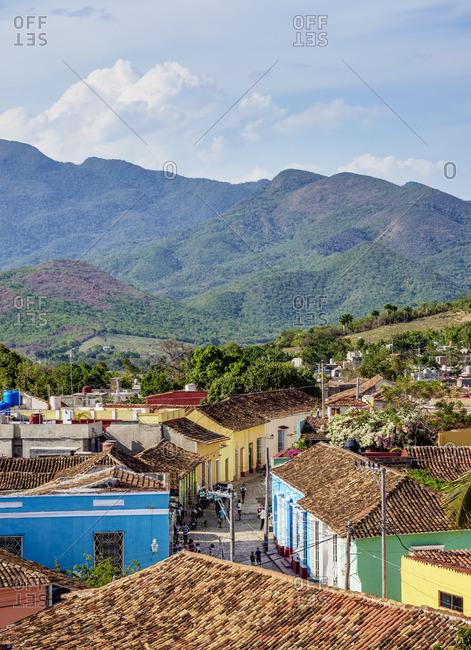 Cuba - April 8, 2019: Colorful street of Trinidad, elevated view, Sancti Spiritus Province, Cuba