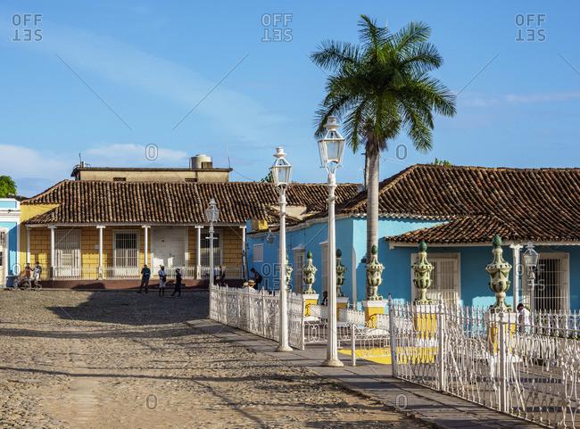 Cuba - April 8, 2019: Plaza Mayor, Trinidad, Sancti Spiritus Province, Cuba
