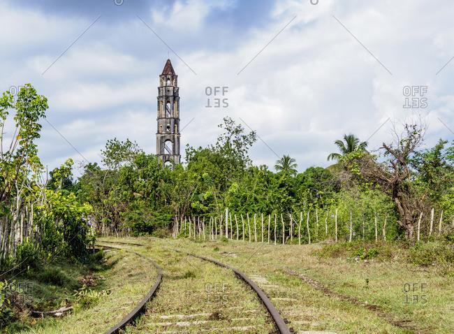 Railroad tracks and Manaca Iznaga Tower, Valle de los Ingenios, Sancti Spiritus Province, Cuba