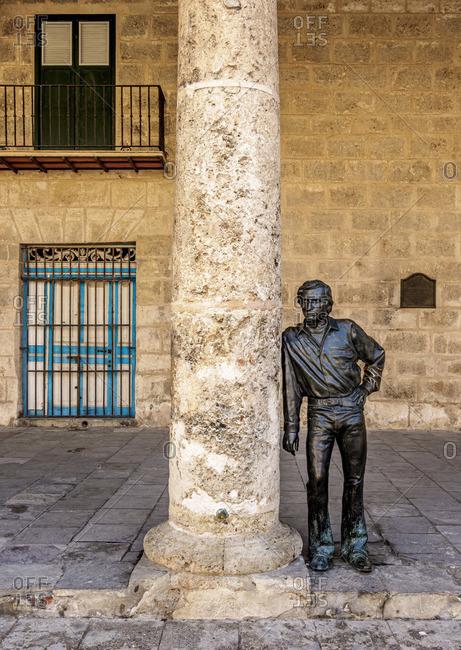 Cuba - March 25, 2019: Sculpture at Plaza de la Catedral, La Habana Vieja, Havana, La Habana Province, Cuba