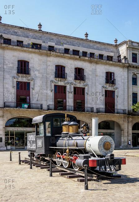Cuba - April 29, 2019: Steam Locomotive at La Habana Vieja, Havana, La Habana Province, Cuba
