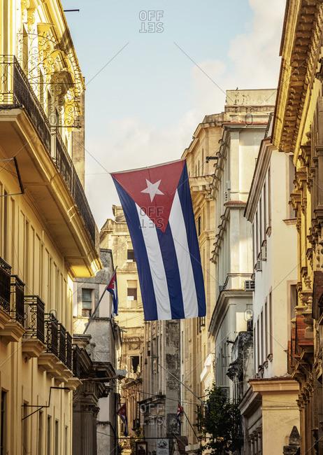 Cuba - April 30, 2019: Cuban Flag at La Habana Vieja, Havana, La Habana Province, Cuba