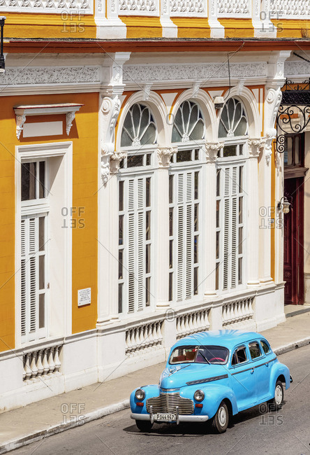 Cuba - March 22, 2019: Vintage car at Libertad Square, elevated view, Matanzas, Matanzas Province, Cuba