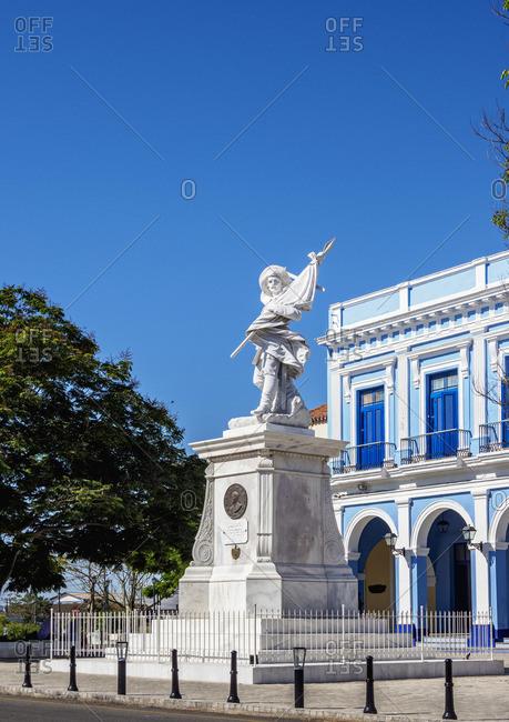 Cuba - March 23, 2019: Soldier Liberator Sculpture at La Vigia Square, Matanzas, Matanzas Province, Cuba