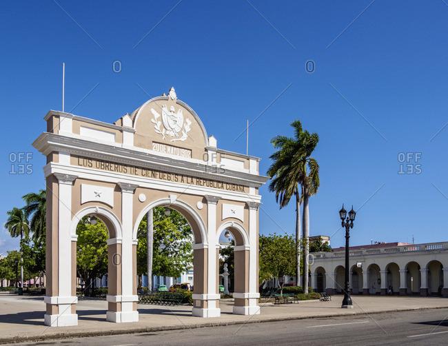 Cuba - April 7, 2019: Arco de Triunfo, Main Square, Cienfuegos, Cienfuegos Province, Cuba