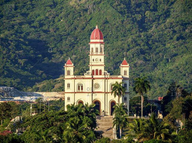 Cuba - April 18, 2019: Nuestra Senora de la Caridad del Cobre Basilica, El Cobre, Santiago de Cuba Province, Cuba