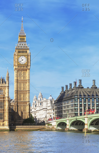 England - September 25, 2019: Westminster Bridge and Big Ben, London, England, UK