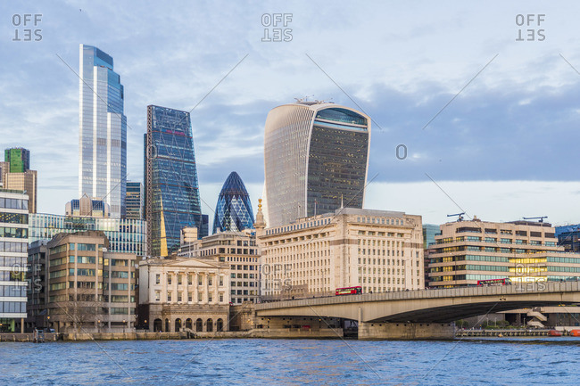 England - January 29, 2020: City of London skyline across the River Thames, London, England