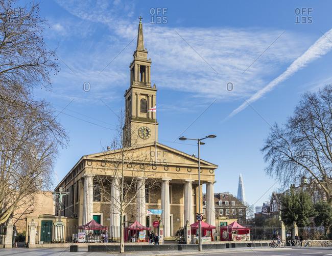 England - February 7, 2020: St John's Church, Waterloo, London, England