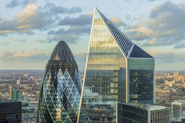 England - February 11, 2020: The Scapel building and The Gherkin which is also known as the Swiss Re building, London, England