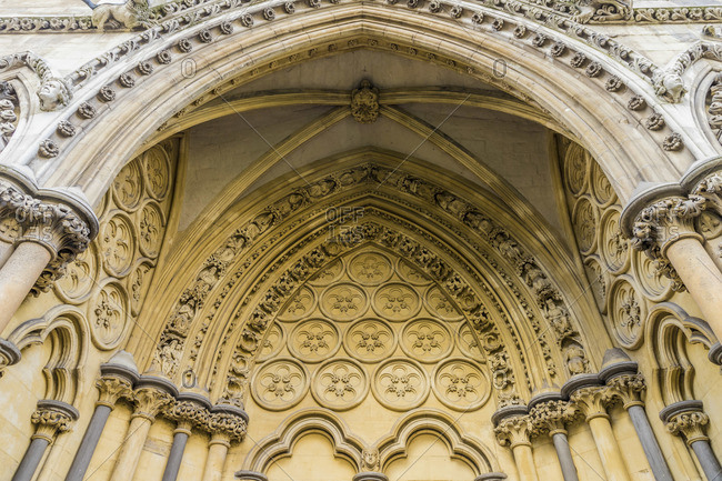 Detail on Westminster Abbey, a UNESCO World heritage site, London, England
