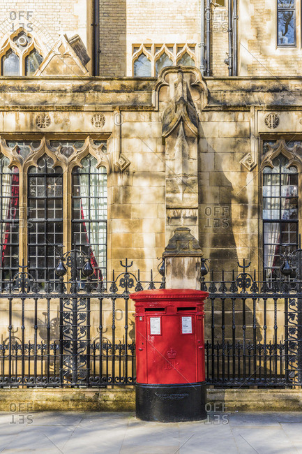 Red post box, Westminster, London, England