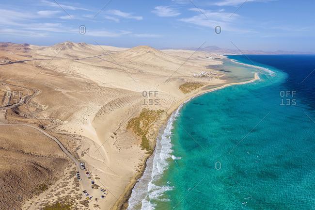 Spain, Canary Islands, Fuerteventura, Jandia Peninsula, Risco del Paso, Playas de Sotavento and Laguna de Sotavento