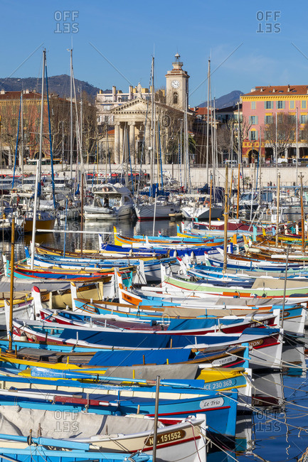 France - January 8, 2020: Fishing Boats in Port Lympia, Nice, South of France,