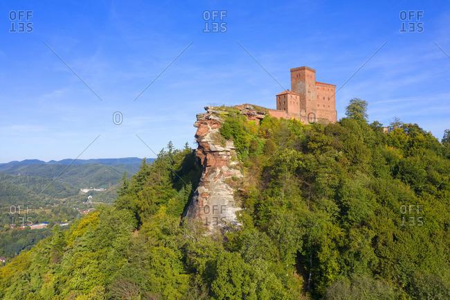 Aerial view at Trifels castle, Annweiler, Palatinate forest, Wasgau, Rhineland-Palatinate, Germany