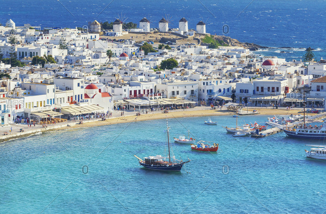 Greece - June 9, 2019: Mykonos Town, elevated view, Mykonos, Cyclades Islands, Greece