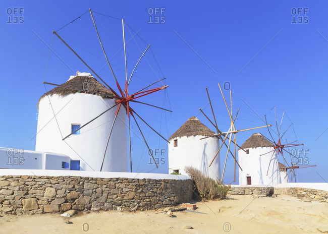 Windmills Kato Mili, Mykonos Town, Mykonos, Cyclades Islands, Greece