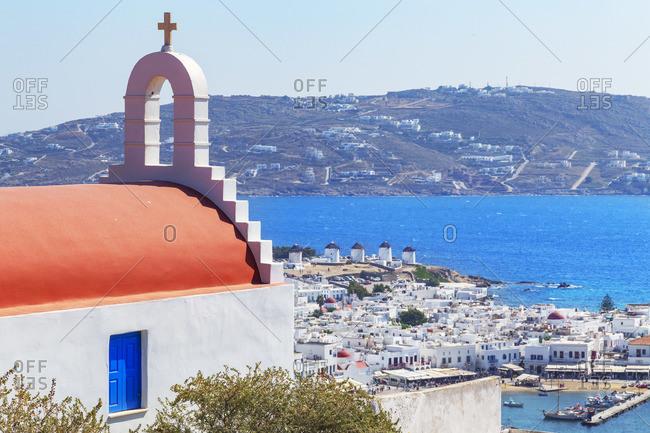 Greek orthodox chapel overlooking Mykonos Town, Mykonos, Cyclades Islands, Greece
