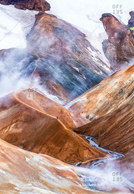 Hveradalir, or �Ruthe valley of hot springs', one of the largest and most captivating geothermal areas in Iceland.