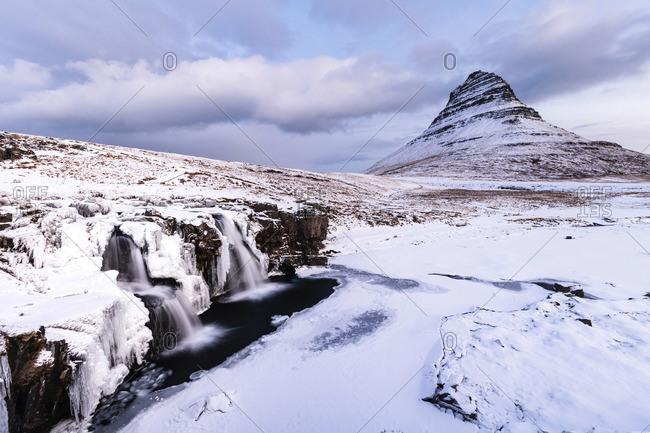 Kirkjufell Waterfall, Snaefellsnes National Park, Snaefellsnes Peninsula, Iceland, Europe