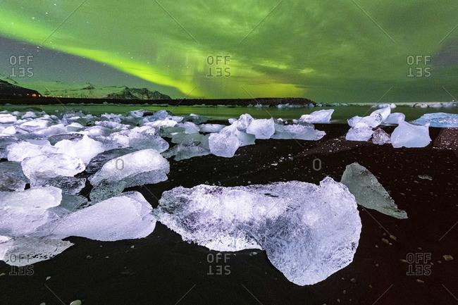Diamond Beach, Jokulsarlon Glacier Lagoon, Hofn, Iceland, Europe