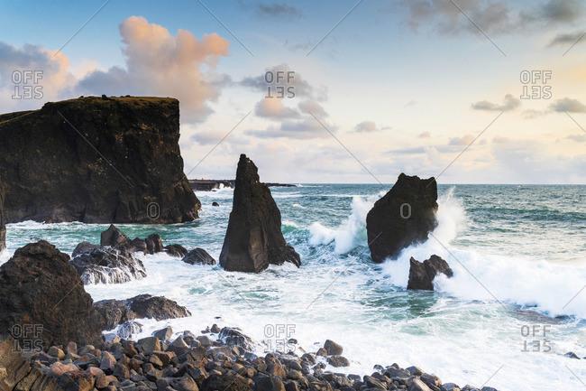 Sea stacks at Reykjanes peninsula, Iceland, Europe