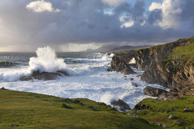Stormy weather in Western Achill Island, Achill Island, County Mayo, Connacht province, Republic of Ireland