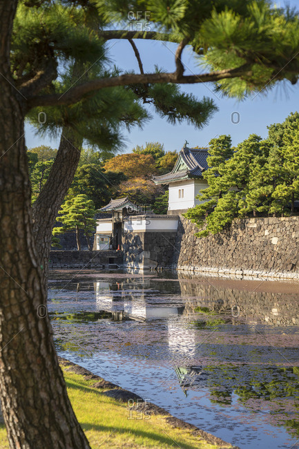 Moat and walls of Imperial Palace, Tokyo, Japan