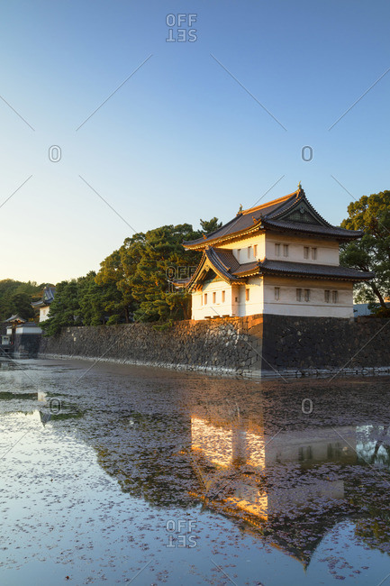 Moat of Imperial Palace at sunset, Tokyo, Japan