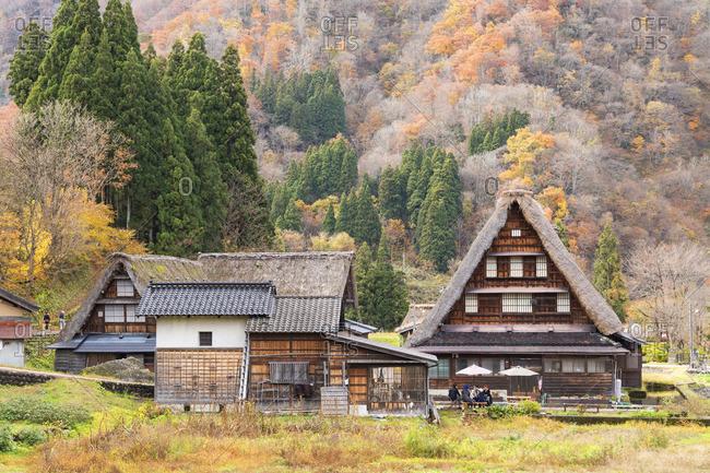 Japan - November 24, 2019: Traditional houses of Suganuma (UNESCO World Heritage Site), Gokayama, Toyama Prefecture, Japan