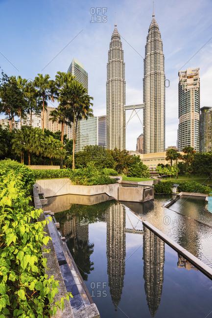 Malaysia - January 9, 2020: Petronas Towers, KLCC, Kuala Lumpur, Malaysia