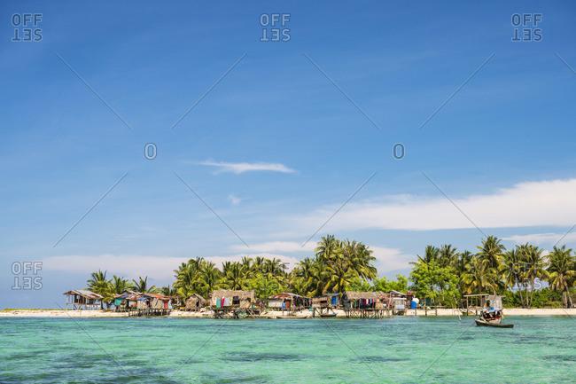 Still houses of the Bajau Laut sea gypsies, Bodgaya Island, Tun Sakaran Marine Park, Semporna, Sabah, Borneo, Malaysia