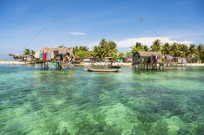 Malaysia - January 15, 2020: Still houses of the Bajau Laut sea gypsies, Bodgaya Island, Tun Sakaran Marine Park, Semporna, Sabah, Borneo, Malaysia