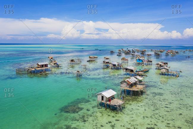 atilt houses around Bodgaya Lagoon, Tun Sakaran Marine Park, Semporna, Sabah, Borneo, Malaysia