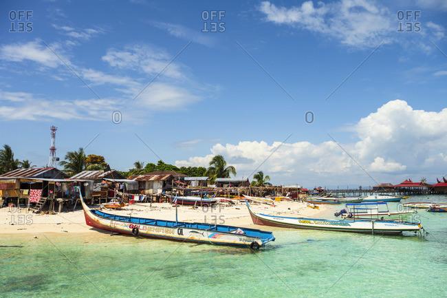 Malaysia - January 16, 2020: Pulau Mabul, Tun Sakaran Marine Park, Semporna, Sabah, Borneo, Malaysia