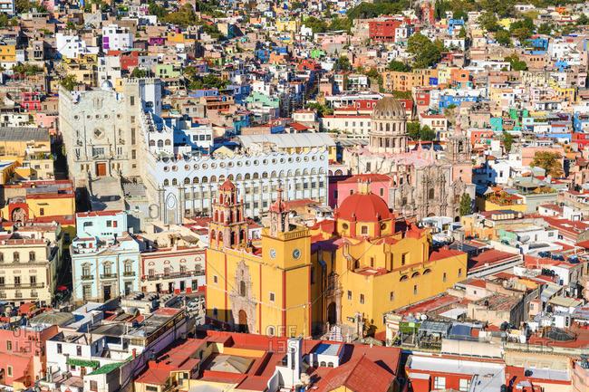 Mexico - December 14, 2019: Guanajuato city, Guanajuato state, Mexico. Cityscape and the Basílica Colegiata de Nuestra Senora de Guanajuato.