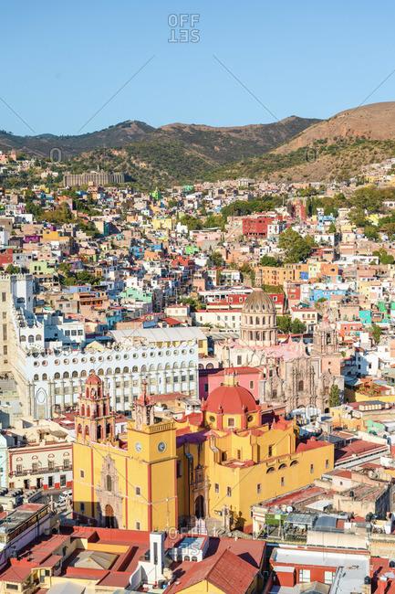 Guanajuato city, Guanajuato state, Mexico. Cityscape and the Basílica Colegiata de Nuestra Senora de Guanajuato.