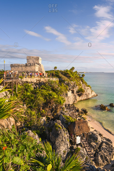 Mexico - December 26, 2019: El Castillo, Ruins of Tulum, Tulum, Quintana Roo, Mexico