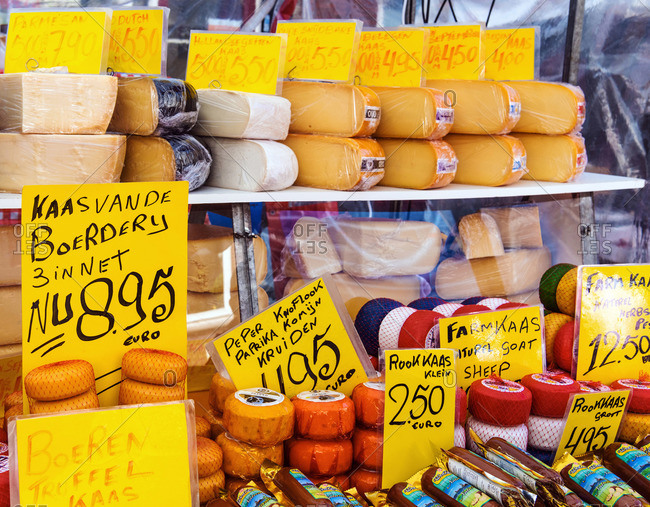 Netherlands - May 11, 2019: Dutch cheese on sale at the food market in Amsterdam, the Netherlands