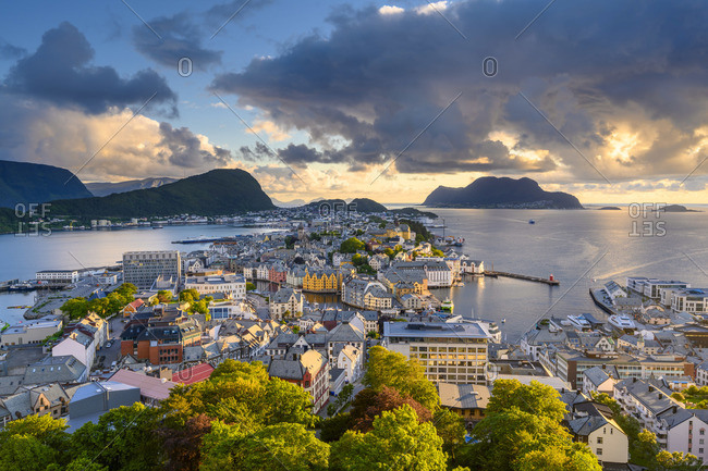 Alesund, More og Romsdal, Norway. Cityscape at sunset.