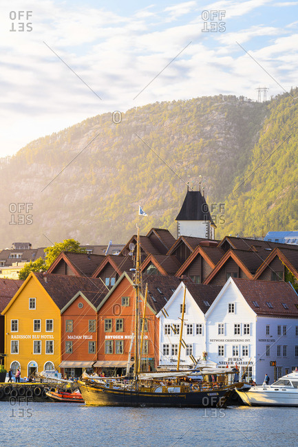 Norway - July 11, 2019: Bergen, Hordaland, Norway. Wooden houses of Bryggen, UNESCO site, former counter of the Hanseatic League.