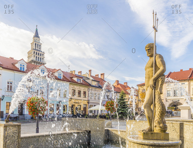 Poland - October 15, 2019: The Neptune statue in the Main Square in Bielsko Biala, Silesian Voivodeship, Poland
