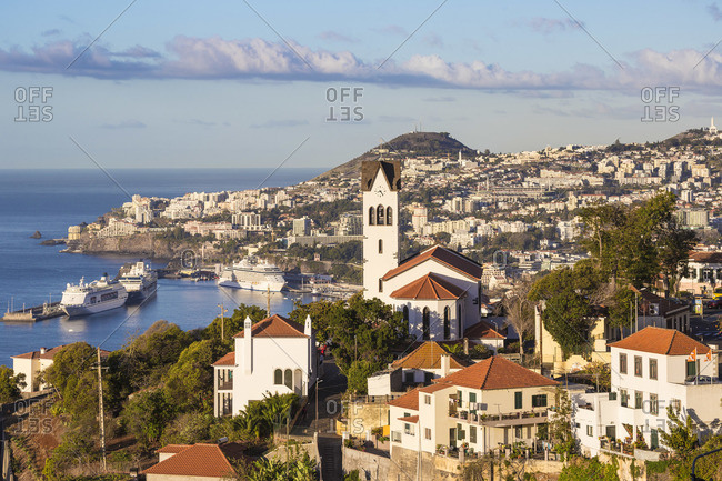 Portugal - November 17, 2019: Portugal, Madeira, Funchal, View of Sao Goncalo Church overlooking Funchal harbor and town