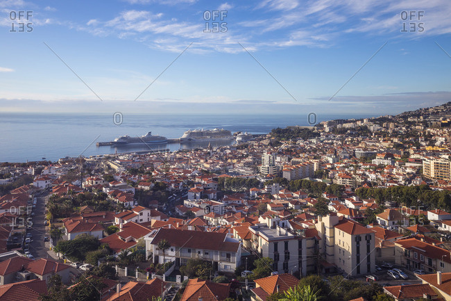 Portugal - November 25, 2019: Portugal, Madeira, Funchal, View of Funchal harbor and town