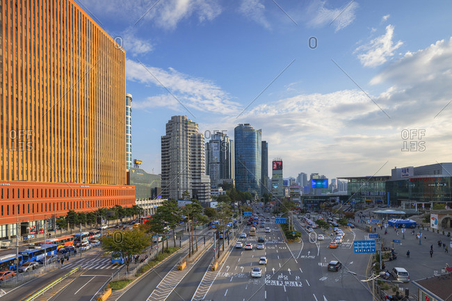 South Korea - October 24, 2019: Skyscrapers and traffic outisde Seoul Station, Seoul, South Korea