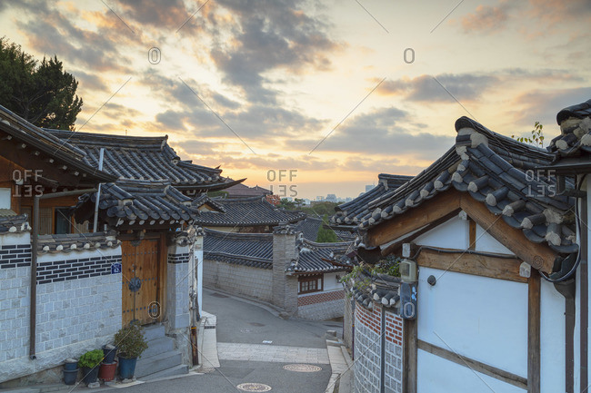 Traditional houses in Bukchon Hanok village at dawn, Seoul, South Korea