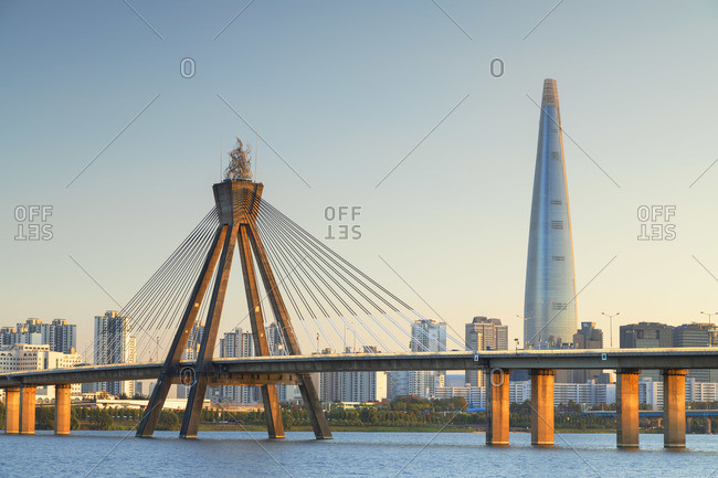 South Korea - October 30, 2019: Lotte World Tower and Olympic Bridge, Seoul, South Korea