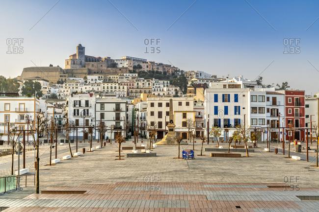 Spain - February 9, 2020: Dalt Vila old town skyline, Ibiza, Balearic Islands, Spain