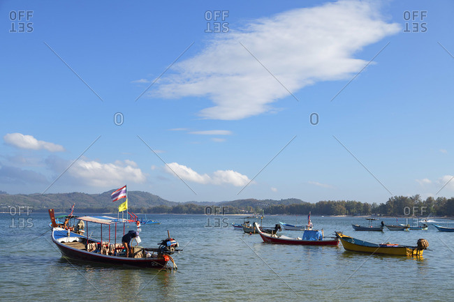 Thailand - January 23, 2020: Boats on Bang Tao Beach, Phuket, Thailand