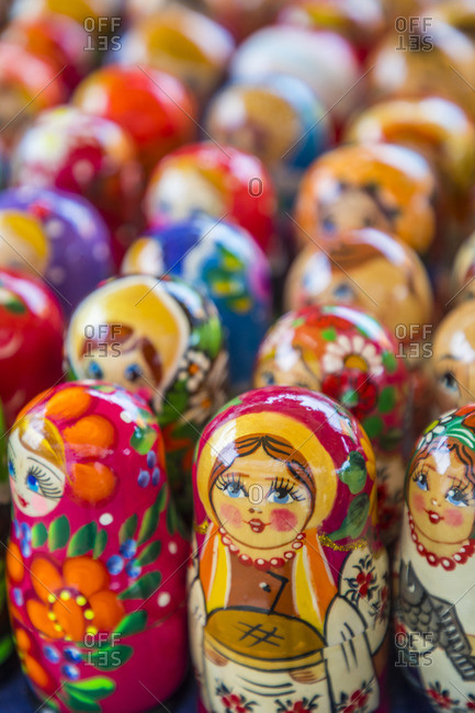 Ukraine - February 9, 2020: Russian Dolls Souvenirs, Kiev (Kyiv), Ukraine